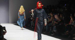 koleksi model desainer hannie hanato flamoush brand merek hijab pakaian muslimah hijaber jakarta fashion week jfw 2019 indonesia modest wear