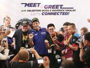 Pembalap tim Monster Energy Yamaha MotoGP Valentino Rossi dan Maverick Vinales menemui penggemarnya di Indonesia